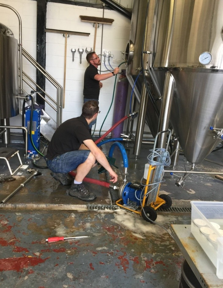 Here are the Beer Brothers in their Brewery checking the kettles for their craft beer.