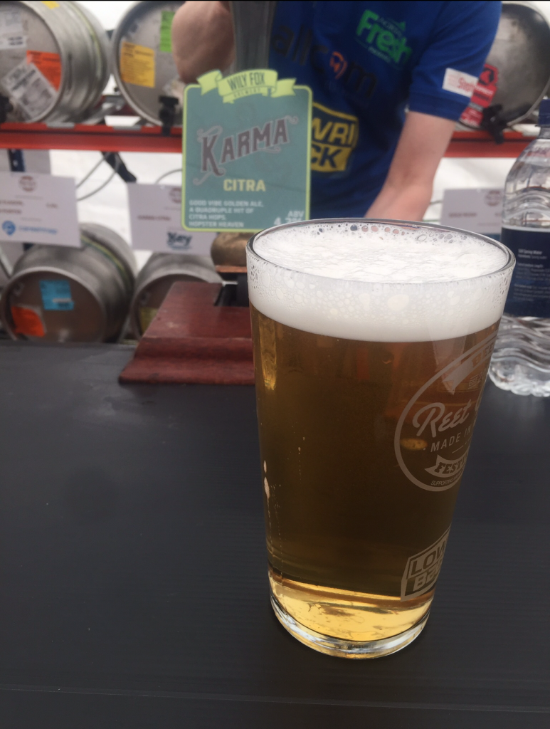 This is a pint of Wily Fox Brewery's Karma Citra at the Reet Good Beer Festival.
