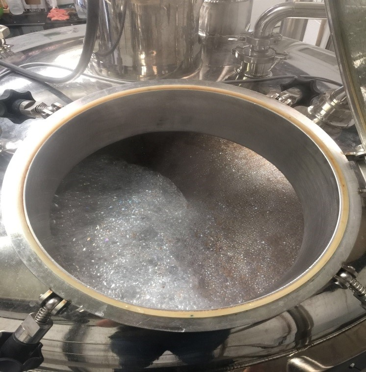 This is the midway process in the brewing kettle of creating the hop chocolate IPA by Beer Brothers.