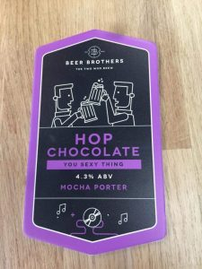This is the Hop Chocolate logo used on the beers at the Beer Brothers Brewery.