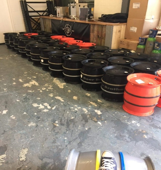 These are some of the kegs at the Beer Brothers Brewery.